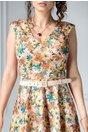 Rochie Eda oranj in clos cu imprimeu floral