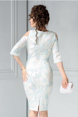 Rochie Edana alba cu bleu eleganta si perle la bust