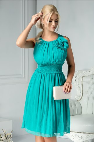 Rochie Edina verde din voal cu accesoriu la umar