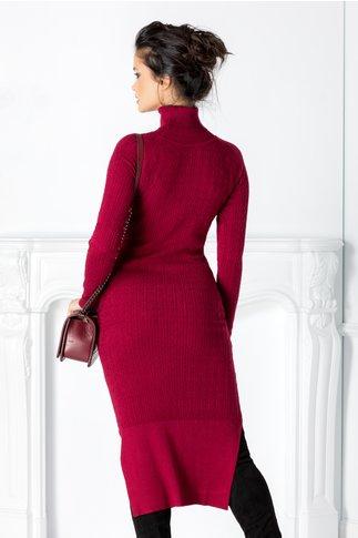 Rochie Edna bordo cu textura tricotata