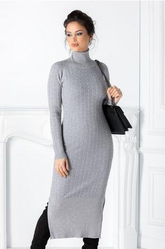 Rochie Edna gri cu textura tricotata