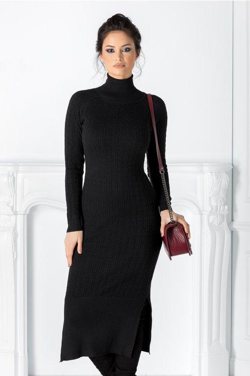 Rochie Edna neagra cu textura tricotata