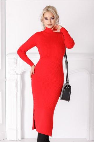 Rochie Edna rosie cu textura tricotata