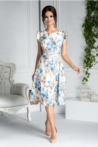 Rochie Edwina clos de zi alba cu imprimeu floral bleu
