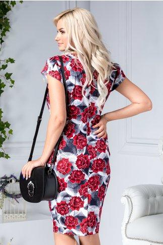 Rochie Edwina conica de zi cu trandafiri rosii