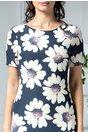 Rochie Elaine de zi bleumarin cu flori mari albe