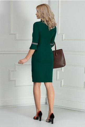 Rochie eleganta verde cu banda imprimata