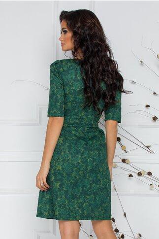 Rochie Elen verde cu imprimeu