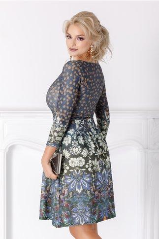 Rochie Elena albastra cu imprimeu floral si detalii aurii