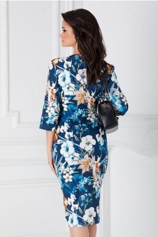 Rochie Elena bleumarin cu imprimeu floral
