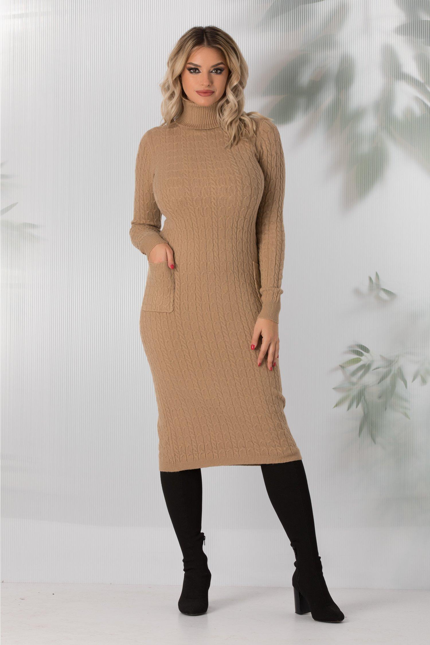 Rochie Elena crem din tricot cu buzunare