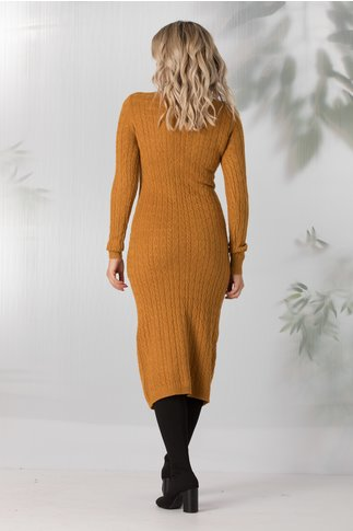 Rochie Elena galben mustar din tricot cu buzunare