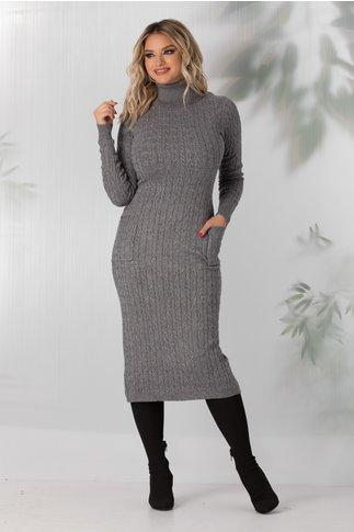 Rochie Elena gri din tricot cu buzunare