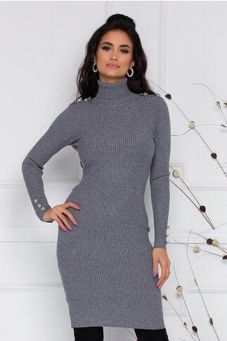 Rochie Elena gri din tricot cu guler pe gat si nasturi decorativi la maneci