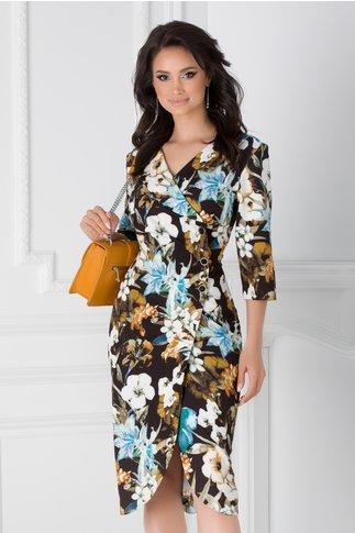 Rochie Elena neagra cu imprimeu floral