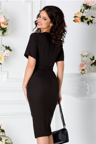 Rochie Elena neagra cu nasturi decorativi