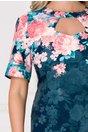 Rochie Eleonora bleumarin cu imprimeu floral albastru si decupaj la decolteu