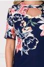 Rochie Eleonora bleumarin cu imprimeu floral maxi si decupaj la decolteu
