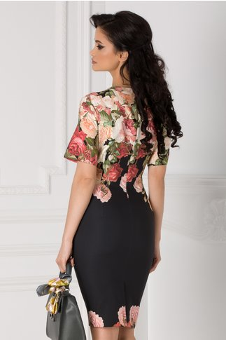 Rochie Eleonora neagra cu trandafiri si decupaj la decolteu