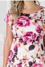 Rochie Elia alba cu imprimeu floral fucsia