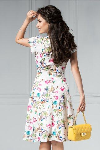 Rochie Elia alba de zi cu flori roze si bleu