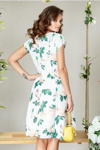 Rochie Elia alba de zi cu frunze verzi