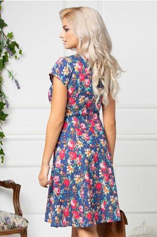 Rochie Elia de zi bleumarin cu imprimeu floral colorat