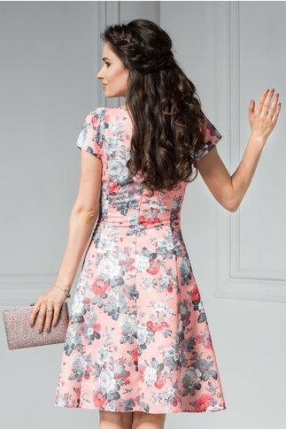 Rochie Elia midi roz de zi de vara cu imprimeu