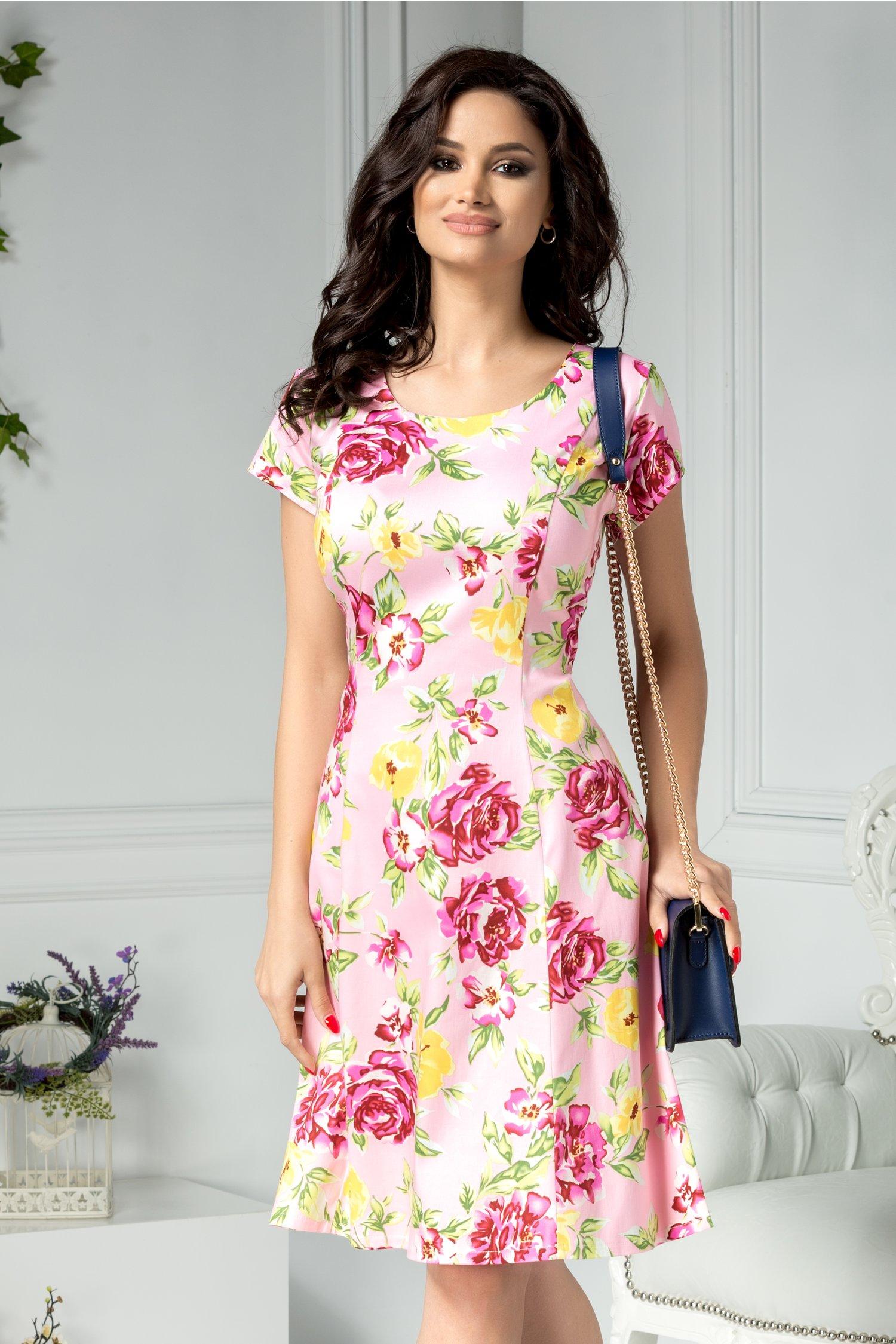 Rochie Elia roz de zi cu flori fucsia si galbene