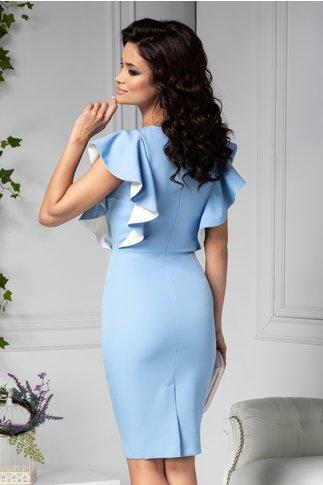 Rochie Eliada conica bleu cu volane la bust