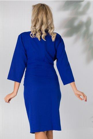 Rochie Eliana albastra accesorizata cu strasuri si perlute cenusii