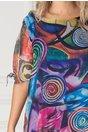 Rochie Eliana albastra cu imprimeu abstract roz