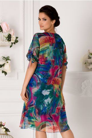 Rochie Eliana albastra cu imprimeu multicolor si fluturi