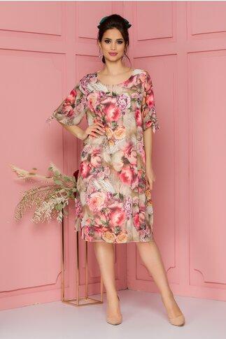 Rochie Eliana bej cu imprimeu floral roz