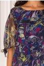 Rochie Eliana bleumarin cu imprimeu divers multicolor