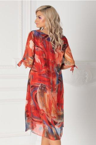 Rochie Eliana corai cu imprimeu abstract