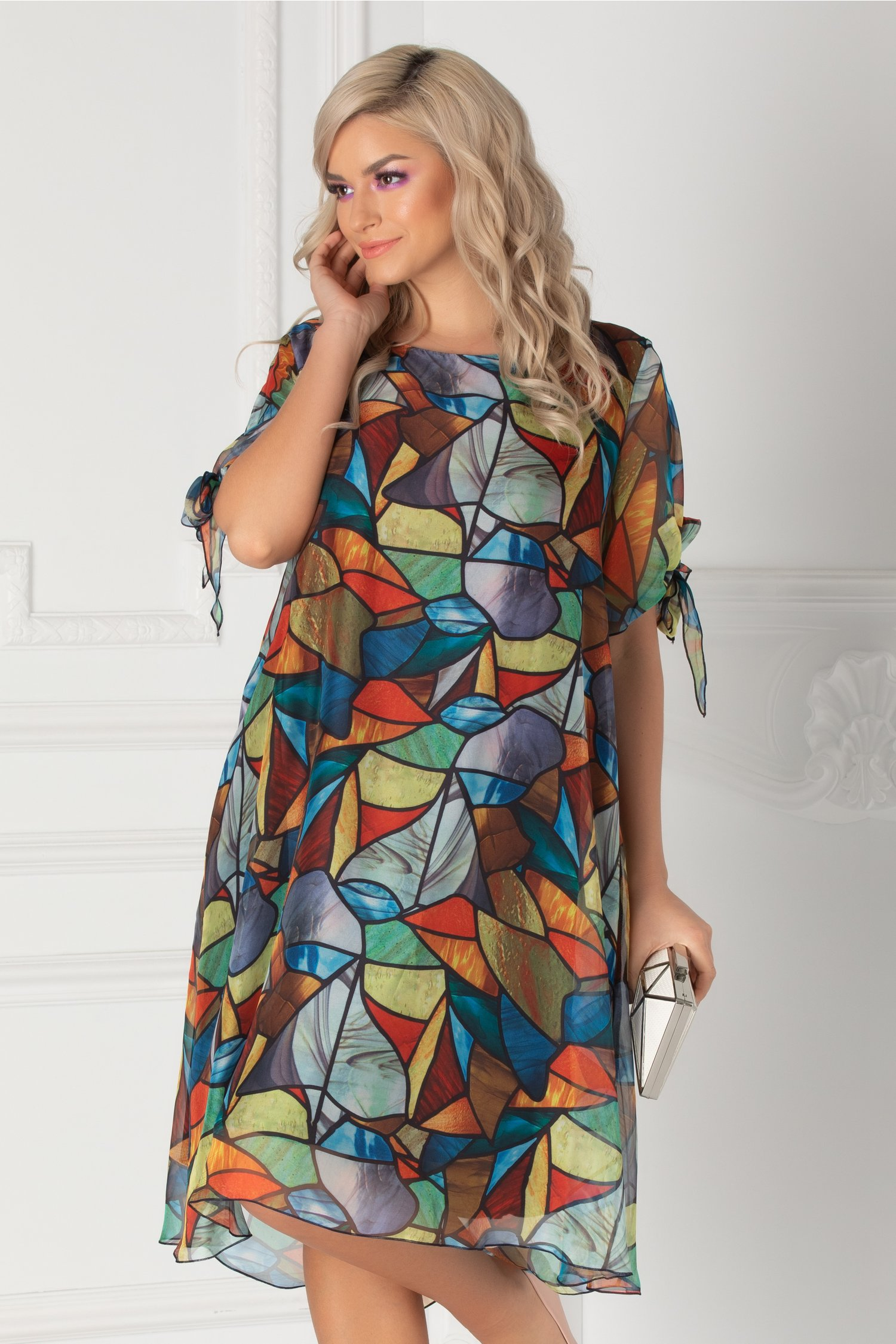 Rochie Eliana cu imprimeu mozaic multicolor