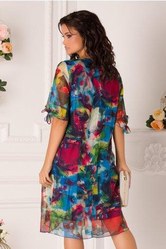 Rochie Eliana cu imprimeuri abstracte multicolore