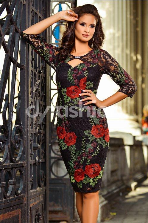 Rochie Eliana Neagra Cu Broderie Florala