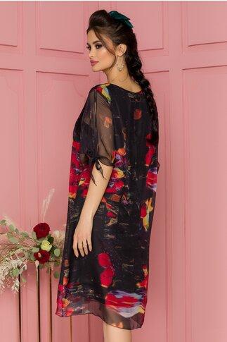 Rochie Eliana neagra cu imprimeu floral rosu
