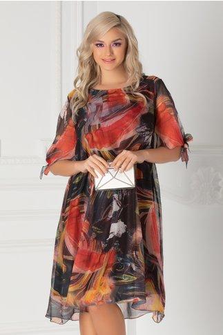 Rochie Eliana neagra cu imprimeuri colorate