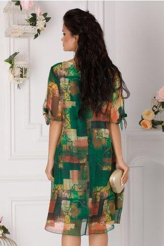 Rochie Eliana verde cu imprimeu divers