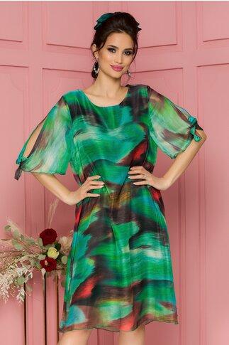 Rochie Eliana verde cu imprimeu in nuante caramizii