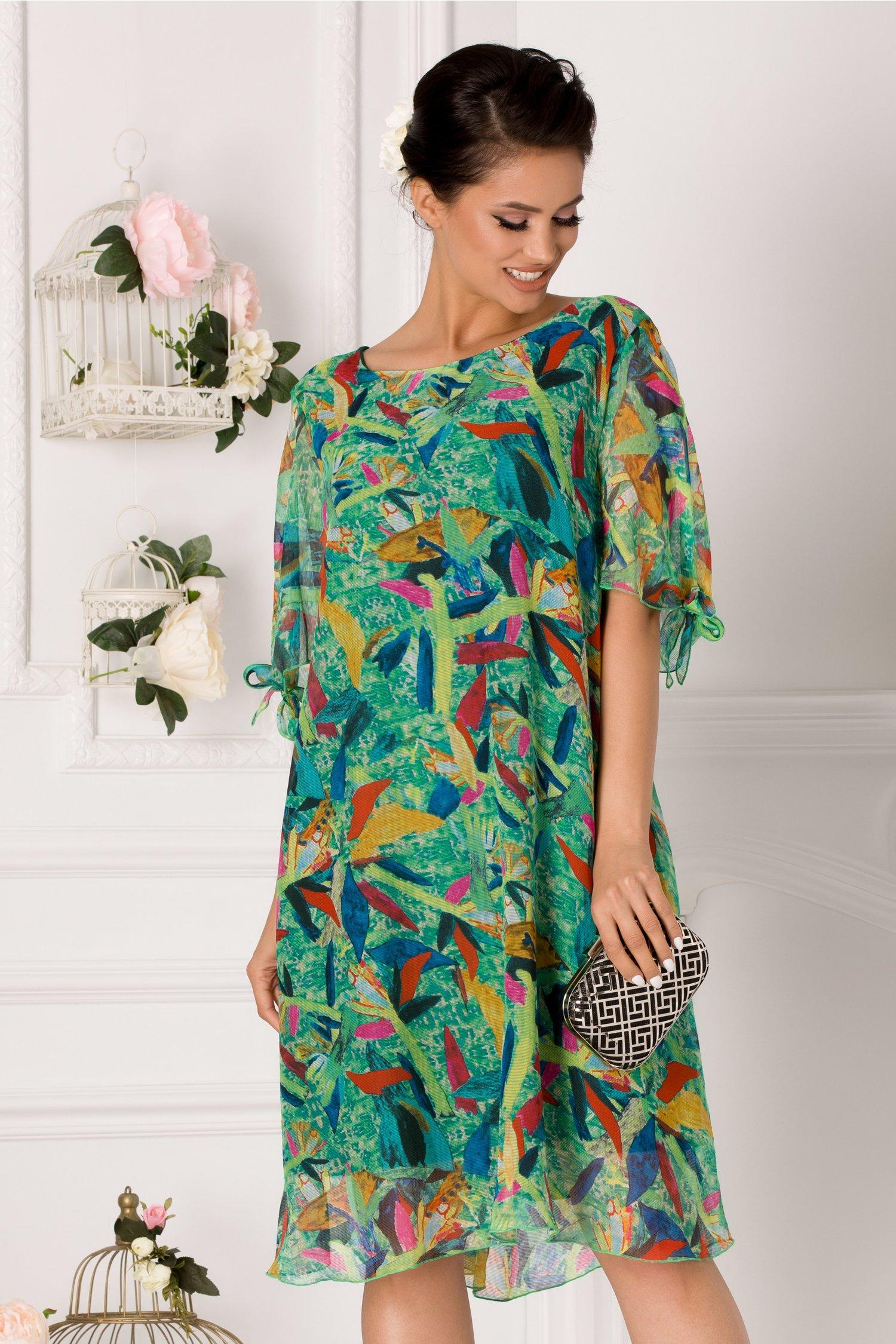 Rochie Eliana verde cu imprimeu multicolor