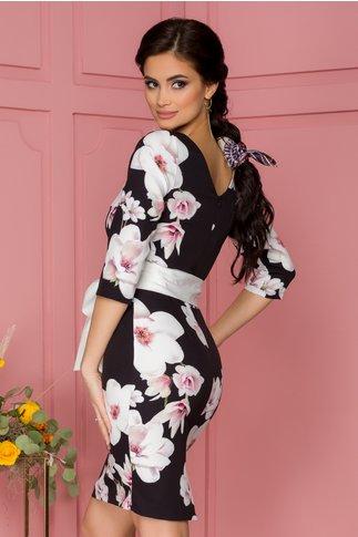 Rochie Eliane neagra cu imprimeuri florale