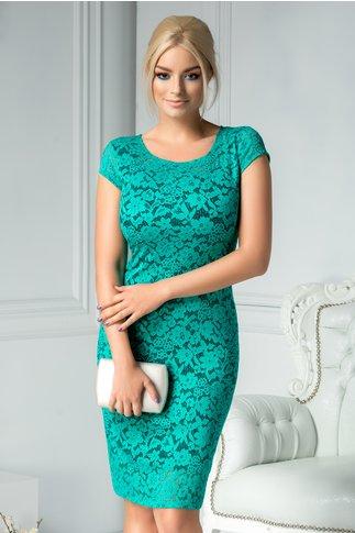 Rochie Elida din dantela verde conica