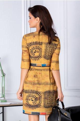 Rochie Elisa galben mustar cu imprimeuri geometrice