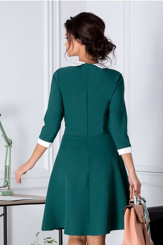 Rochie Elissa verde cu guler si nasturi