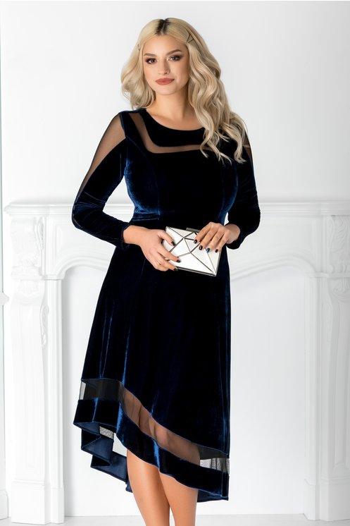 Rochie Eliza bleumarin din catifea cu tull