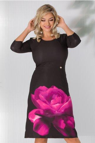 Rochie Eliza neagra cu floare fucsia la baza